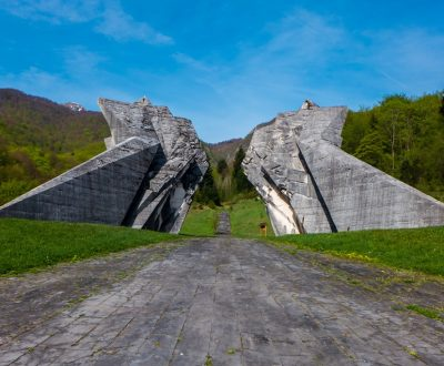 Sutjeska National Park, Bosnia and Herzegovina - 3 May 2015 - The World War II monument in Sutjeska National Park, Bosnia and Herzegovina, on a sunny day.